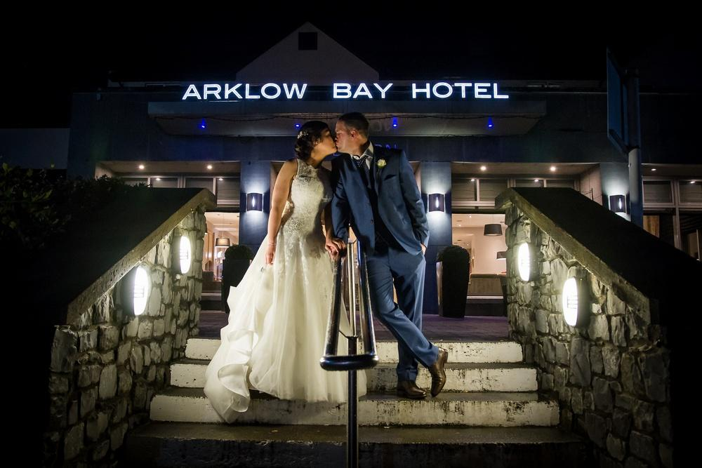 Arklow Bay Hotel Bride & Groom outside hotel night time