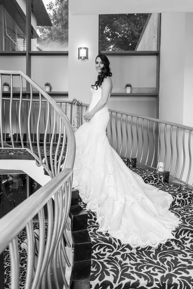 Arklow Bay Hotel bride on Stairs black & white