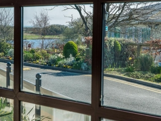 Arklow Bay Hotel walkway with view of our lake